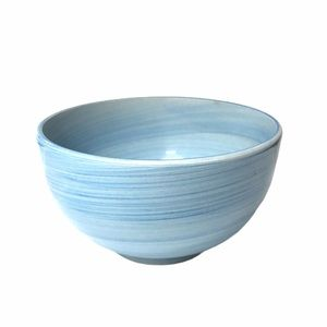 Salute light blue swirl paintbrush ceramic bowl